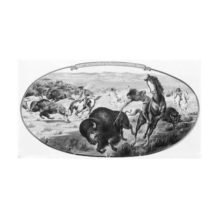 Wild West -- Indian during Buffalo Hunt Print Wall Art
