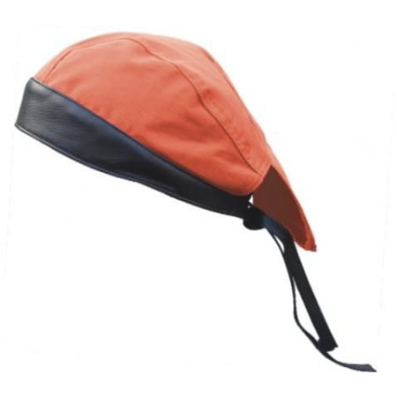 Leather Biker Skull Cap - Men's Motorcycle Biker Heavy Duty Orange Cotton Skull Cap With Black Leather