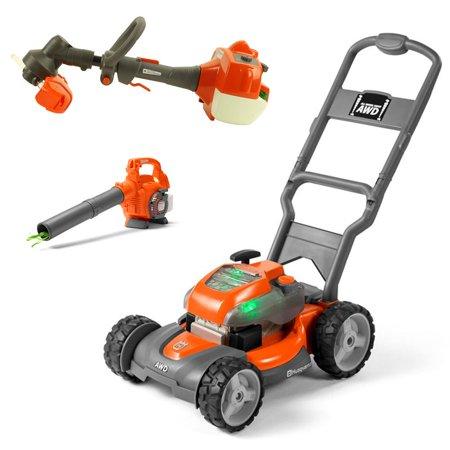 Husqvarna Kids Toy Lawn Mower, Orange + Toy Leaf Blower + Toy Lawn - Mower Leaf
