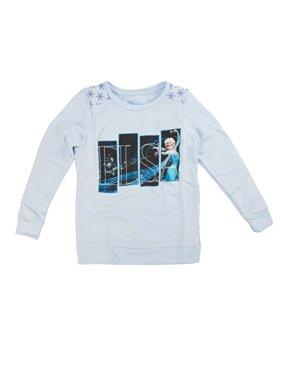Disney Frozen Elsa Magic Squares Girls Blue Pullover Sweatshirt | 10