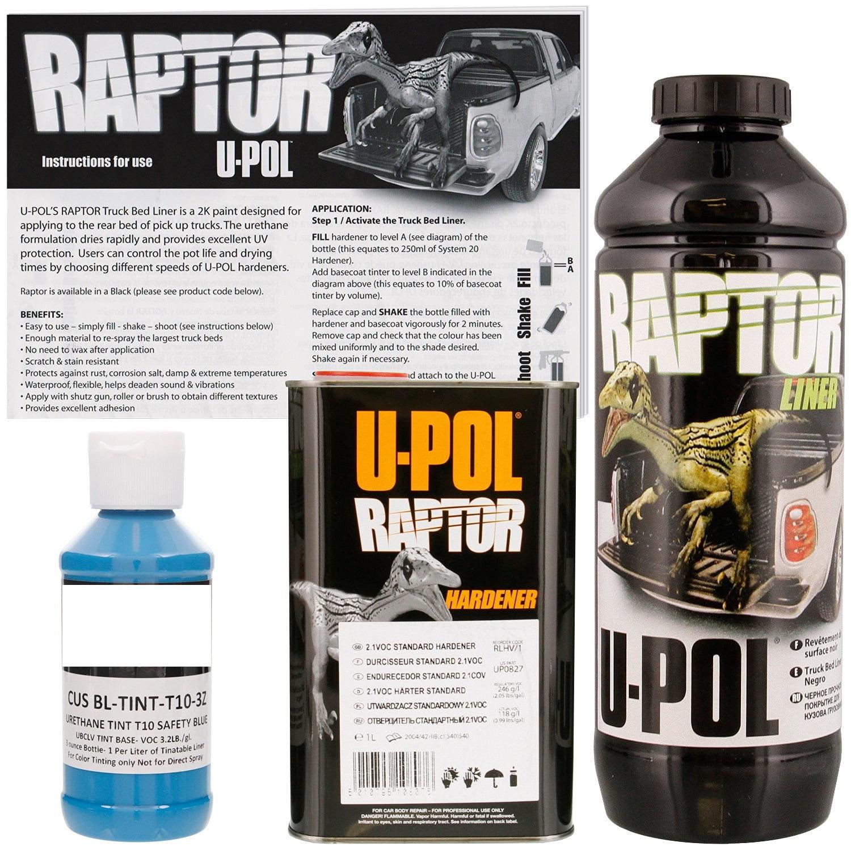 U-POL Raptor Tintable Safety Blue Bed Liner & Texture 1 Liter Upol