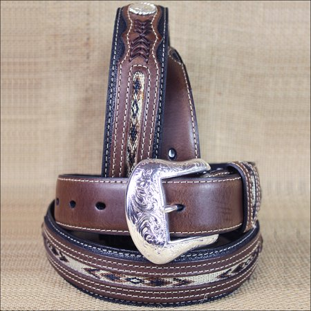 34 INCH WESTERN MEN BLACK BROWN LEATHER FABRIC INSET BELT (Fabric Mens Belt)