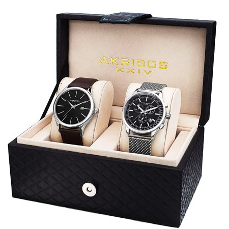 Akribos Xxiv Mens Automatic Watch - Akribos XXIV Men's Quartz Chronograph Strap/ Bracelet Watch Set