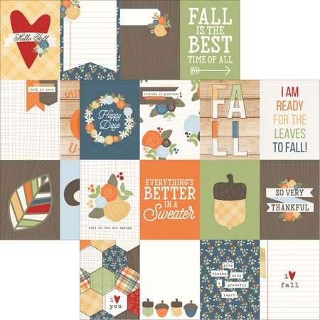 """Hello Fall Double-Sided Elements Cardstock 12""""X12""""-3""""X4"""" Journaling Cards"""
