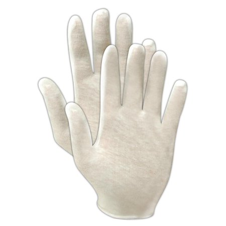 Magid TouchMaster Lisle Cotton White Womens Inspection Gloves, 12 Pairs