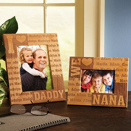 personalized we heart papa wood frame
