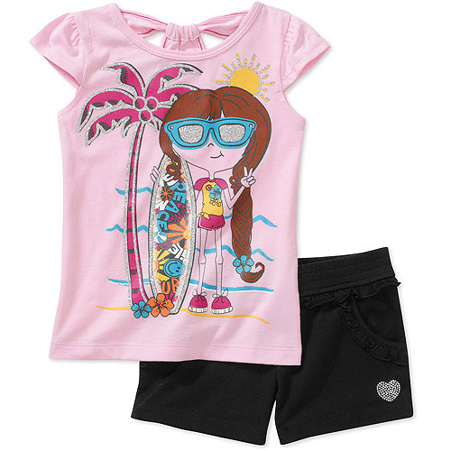 Faded Glory - Little Girls' Tee and Short Set, 2 Pack