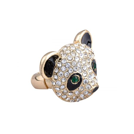 Fashion Adjustable Golden Tone Clear Crystal Colored Rhinestones Black Panda Head Ring