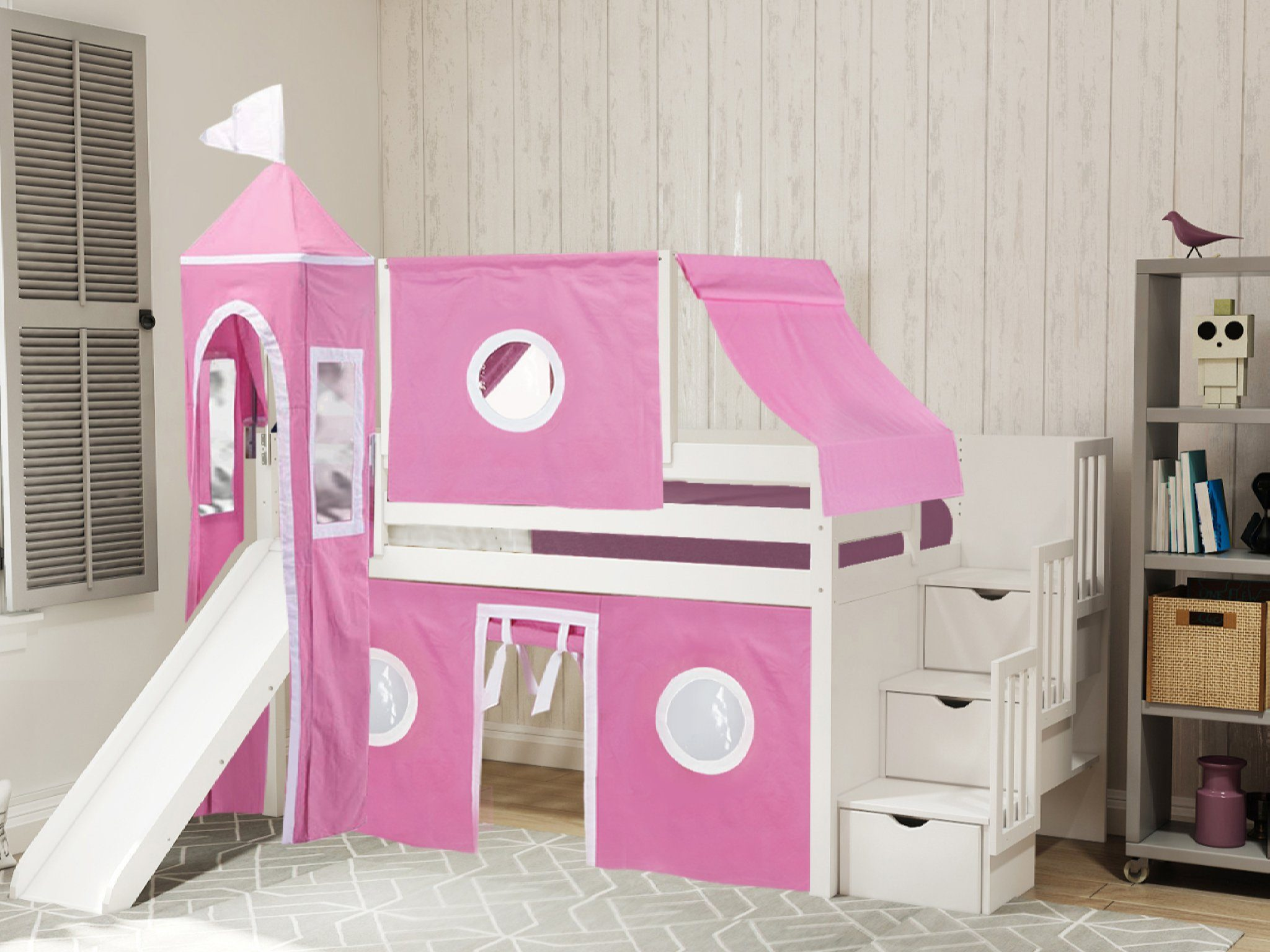 Jackpot Princess Low Loft Stairway Bed With Slide Pink White Tent And Tower Loft Bed Twin White Walmart Com Walmart Com