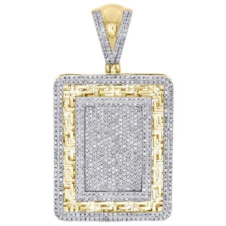 10K Yellow Gold Diamond Dog Tag Pendant 1.95