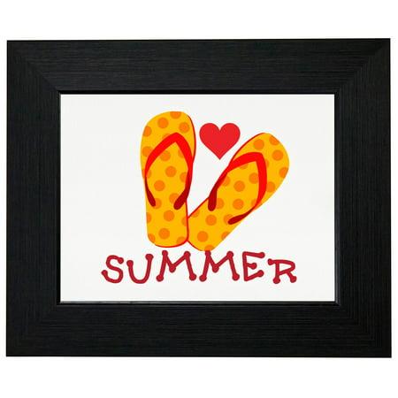 Summer - Playful Bright Flip Flop Graphic Design Framed Print Poster Wall or Desk Mount Options