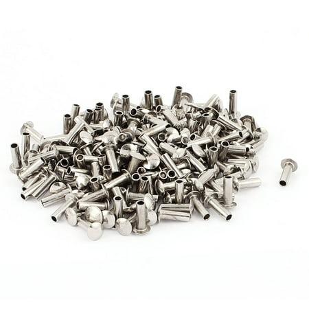200 Pcs M3 x 9mm Nickel Plated Truss Head Semi-Tubular Rivets