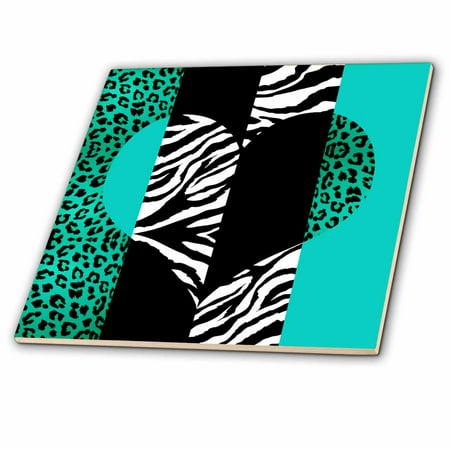 Leopard Tile - 3dRose Aqua Blue Black and White Animal Print - Leopard and Zebra Heart - Ceramic Tile, 4-inch