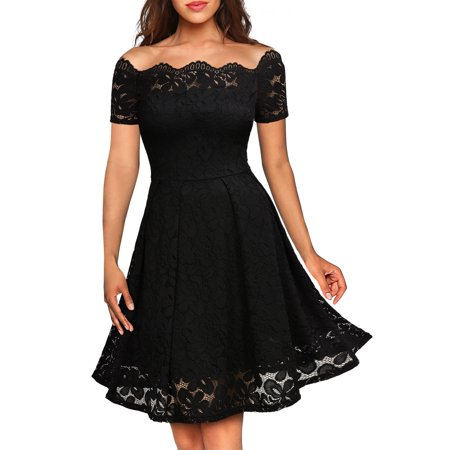 Lace Shoulder Button - MIUSOL Women's Floral Lace Cold Shoulder Evening Party Summer Dress with Short Sleeve