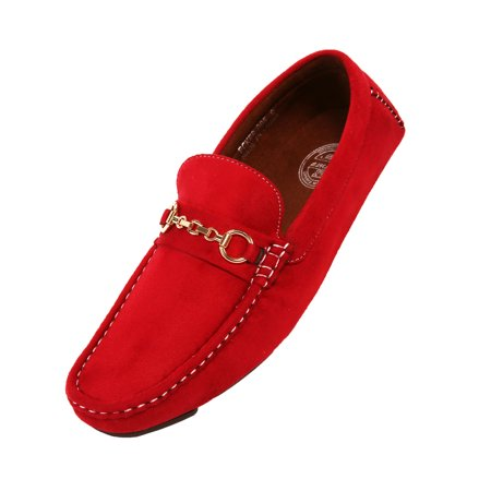Amali Men's Microfiber Slip-On Loafer with Chain Ornament, Comfortable Driving Moccasins, Style Ecker (Red Shots For Halloween)