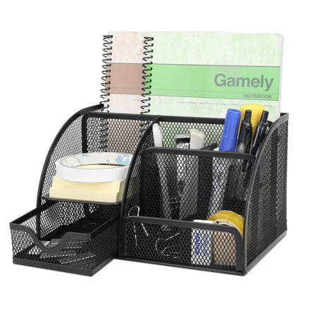 - Desk Organizer Office Supplies Accessories Desktop Tabletop Sorter Shelf Pencil Holder Caddy Set - Metal Mesh with Drawer and 6 Compartments (Black)