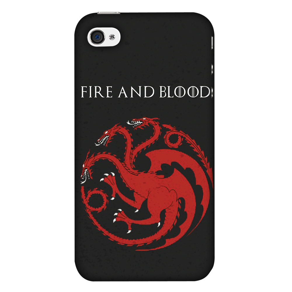 iPhone 4S Case, iPhone 4 Case - Team Targaryen,Hard Plastic Back Cover, Slim Profile Cute Printed Designer Snap on Case with Screen Cleaning Kit