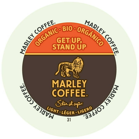 Marley Coffee Get Up Stand Up, Light, Organic, RealCup Portion Pack For Keurig Brewers, 24 Count