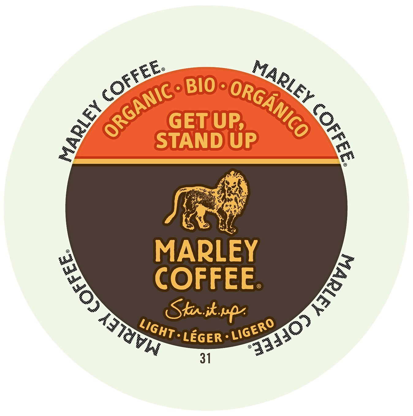 Marley Coffee Get Up Stand Up Light Organic, RealCup portion pack for Keurig K-Cup Brewers, 24 Count
