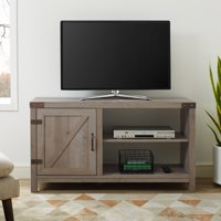 Product Image Manor Park 44 Rustic Farmhouse Barn Door Tv Stand Storage Console With Shelving Grey
