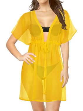 b6e55be0742c Product Image Swim Chiffon Cover ups Women Bikini Beachwear V-Neck Hollow  Out Loose Solid Beach Dress