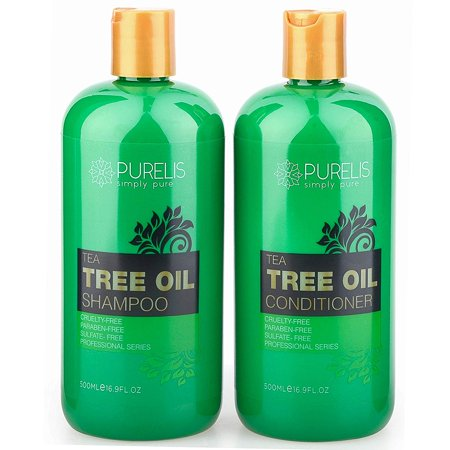 Purelis Tea Tree Oil Shampoo & Conditioner Set, Tea Tree Shampoo + Tea Tree Conditioner for Deep Cleansing & Hydrating for Dandruff, Itchy Scalp & Dry Hair, 26.5 oz. (Best Oil For Itchy Scalp)