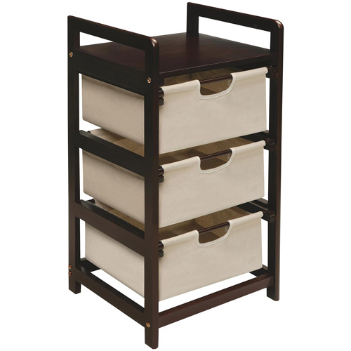 Badger Basket Finish 3-Drawer Hamper/Storage Unit, Espresso  with Canvas Bins