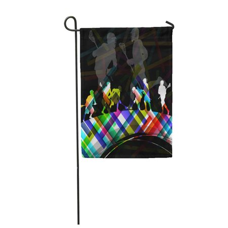 JSDART Helmet Lacrosse Players Men Active Sport Silhouettes Abstract Color Garden Flag Decorative Flag House Banner 12x18 inch - image 1 of 1