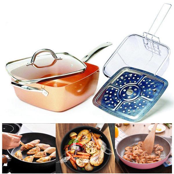 4 PCS// Set Copper Square Bratpfanne Induktion für Chef Glasdeckel Fry Basket