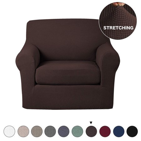 Anti-Slip Jacquard 2-Piece Spandex Stretch Elastic Pet Dog Sofa Couch Cover Slipcover Arm-chair Furniture Protector Shield (Chair-Chocolate) ()