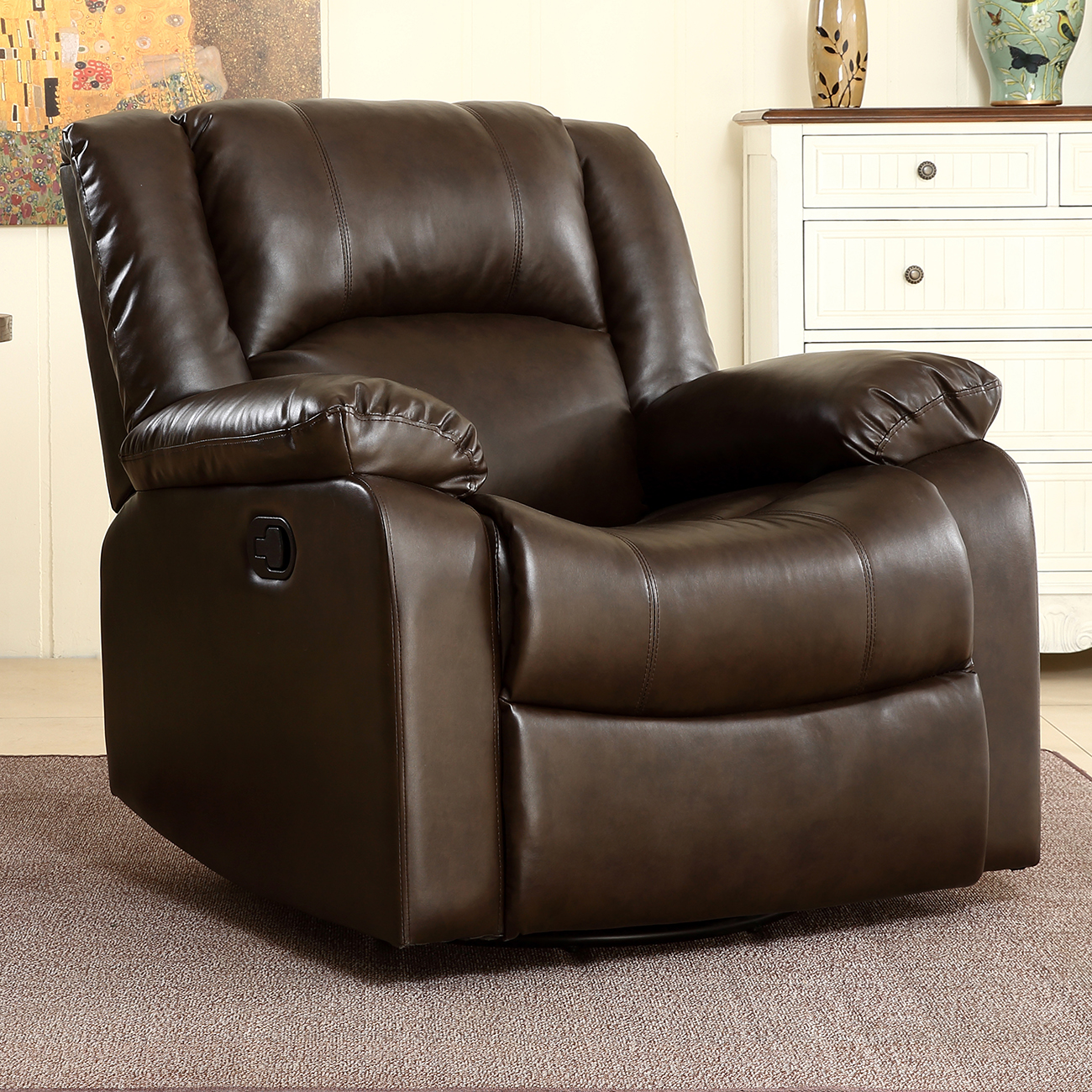 Belleze Faux Leather Rocker / Swivel Glider Recliner Living Room Chair (Brown)