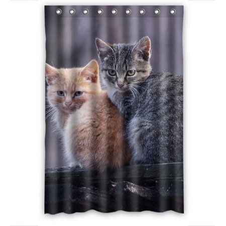 Ganma Animal Pet Grey Cute Black Yellow Cat Shower Curtain Polyester Fabric Bathroom Shower Curtain 48x72 - R2d2 Fabric