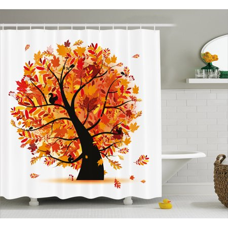 Fall Shower Curtain Curvy Tree With Various Different Falling Leaves Cartoon Style Illustration Fabric