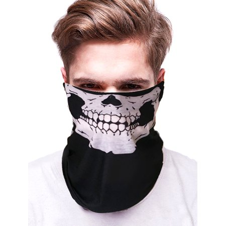 IClover Seamless Skull Mask Motorcycle Bicycle Half Face Tube Skeleton Mask for Outdoor Hiking Halloween - Black - Half Skull Face Halloween