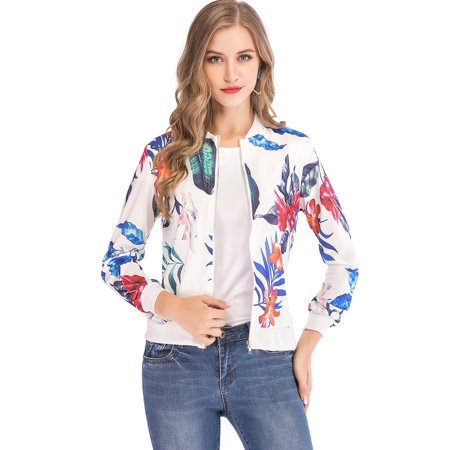 LELINTA Womens Fashion Floral Print Jacket Classic Zipper Up Long Sleeve Baseball Short Jacket Tops Coat