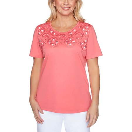 Alfred Dunner Women's Miami Beach Cutout Knit Top, Coral, Small
