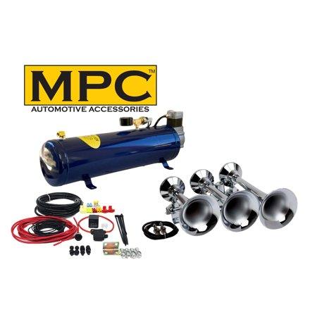 - Train Air Horn Kit; Three Oversize Flat-Rack Trumpets, 130 PSI Compressor & Tank