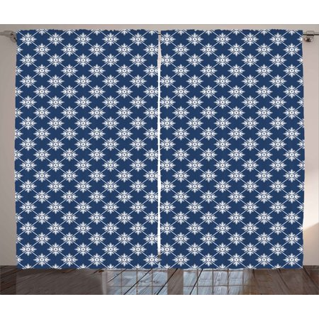 - Indigo Curtains 2 Panels Set, Ancient Greek House Tile Inspired Design with Floral Flower Leaf Details, Window Drapes for Living Room Bedroom, 108W X 90L Inches, Navy Blue and White, by Ambesonne