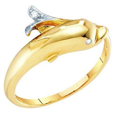 Dazzlingrock Collection 0.02 Carat (ctw) 10K Round Cut White Diamond Ladies Dolphin Right Hand Ring, Yellow Gold, Size -