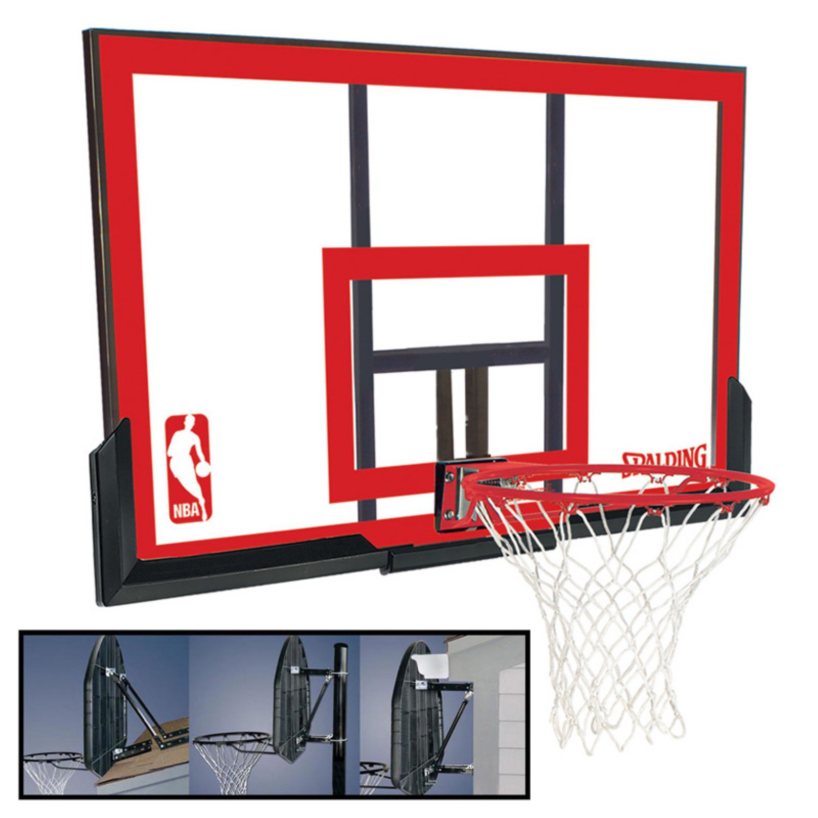 Spalding 48-Inch Polycarbonate Backboard Combo with Mounting Bracket