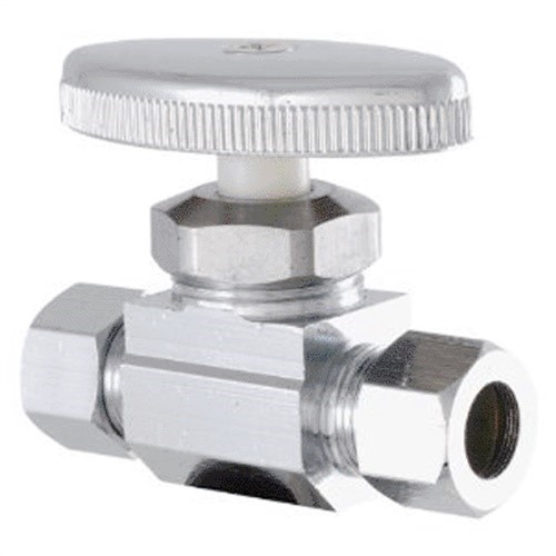 LDR 537 6200 Low Lead Shut Off Street Valve 3/8-Inch Compression x 3/8-Inch Compression, Chrome