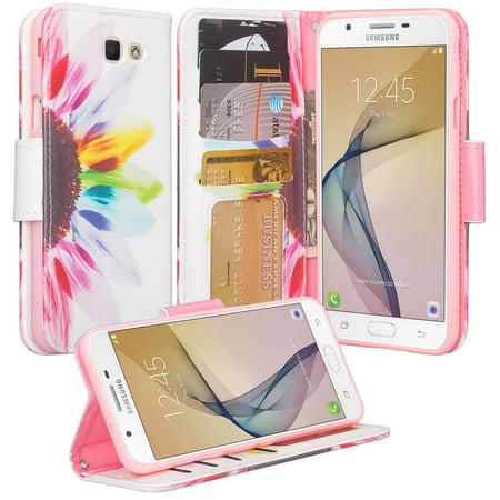 Samsung Galaxy J7 (2017) / J7 Sky Pro / J7 Perx / J7 V case, Wrist Strap Pu Leather Magnetic Flip[Kickstand] Wallet Case with ID & Card Slots - Vivid - Multidapt Leather Case