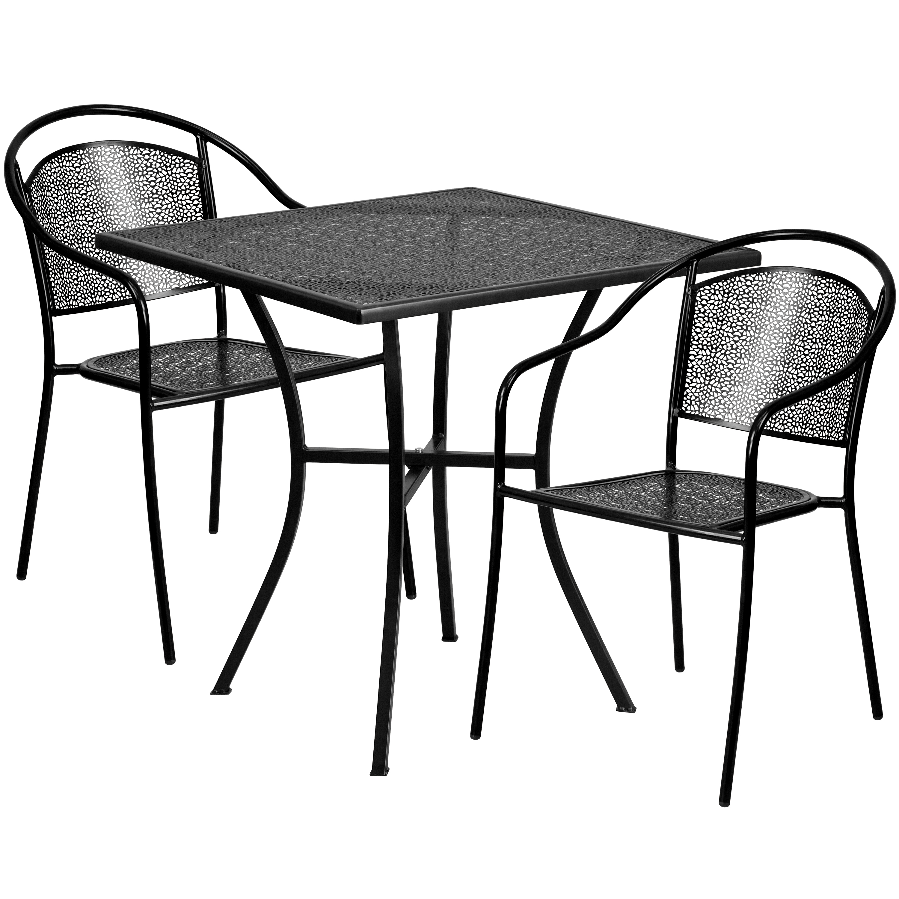 """Flash Furniture 28"""" Square Indoor-Outdoor Steel Patio Table Set with 2 Round Back Chairs, Multiple Colors"""
