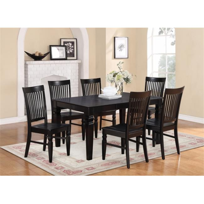 East West Furniture WEST7-BLK-W 7PC Weston Rectangular Dining Table and 6 Wood Seat Chairs in Black