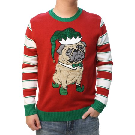 Ugly Christmas Sweater Men's 3D Party Pug Elf Hat With Bell Pullover Sweatshirt](Ugly Christmas Attire)