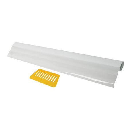 PVC Stripe Pattern Anti UV Static Cling Window Film White 78.7-inch by 35.4-inch