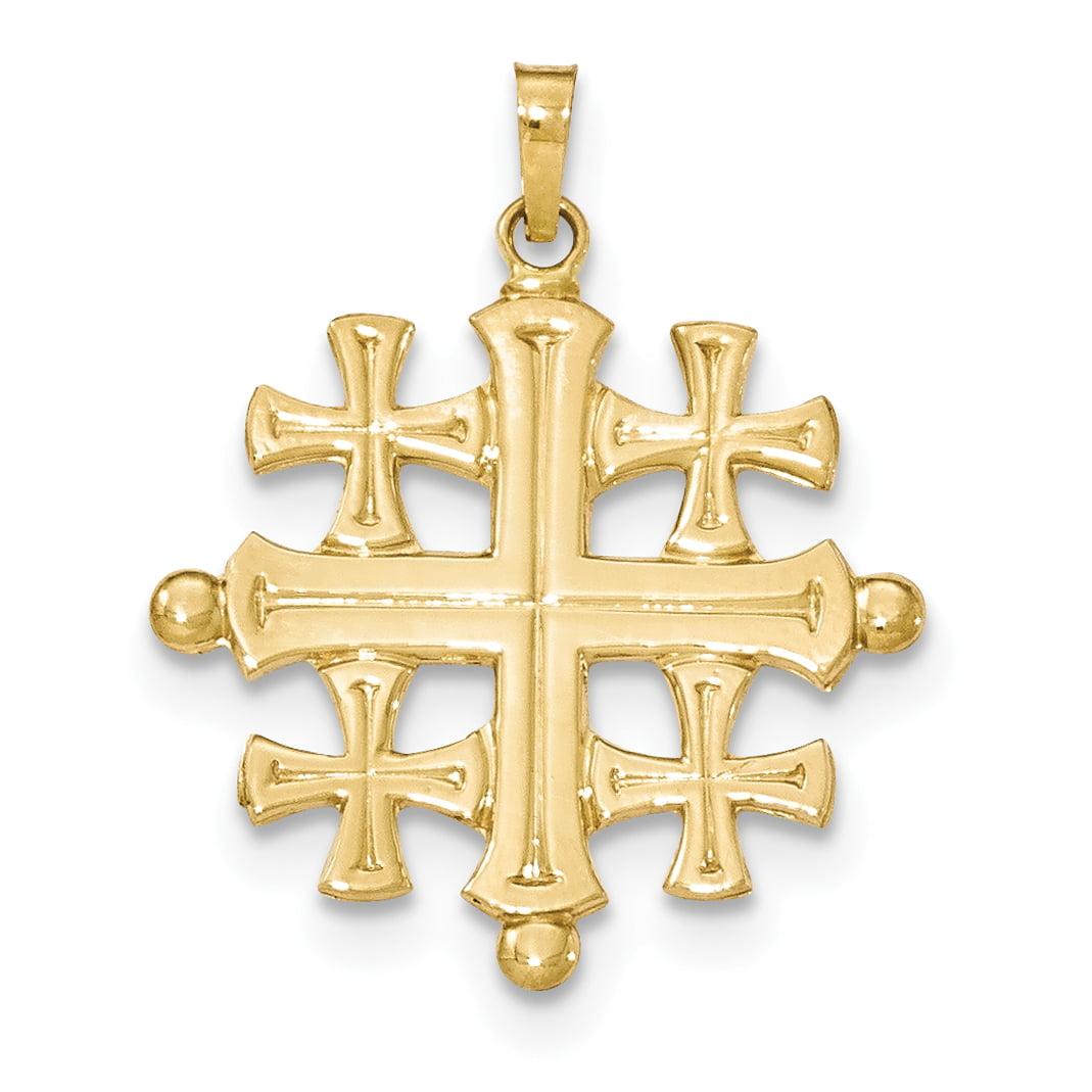14k Polished Jerusalem Cross Pendant XR1489 by Core Gold