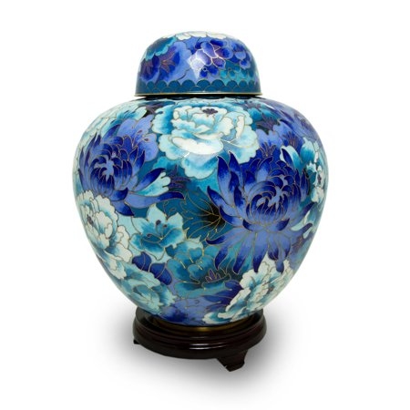 Metal Cremation Urn For Ashes - Extra Large 245 Pounds -  Blue Floral Blue -
