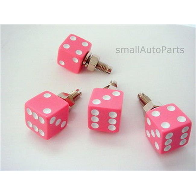 SmallAutoParts White Dice License Plate Frame Fasteners Bolts, Set Of 4