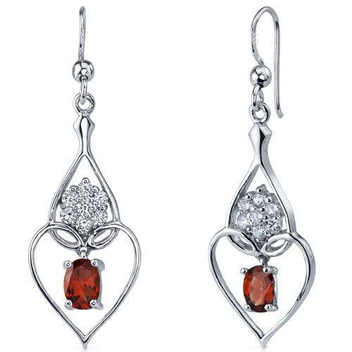 Oravo Illuminating Hearts 2.00 Carats Garnet Oval Cut Dangle Cubic Zirconia Earrings in Sterling Silver